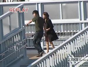 Public,Japanese,Outdoor Subtitled busty Japanese public...