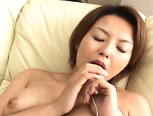 Asian,Babe,Hairy,Japanese,Masturbation,Solo,Toys Slut rubs her cunt with her lovely...