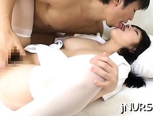 Asian,Blowjob,Hairy,Hardcore,Japanese,Stockings Nurse in heats roughly screwed and...