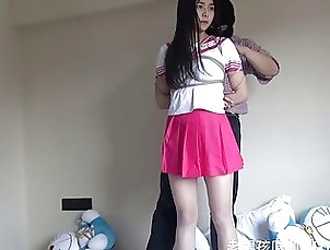 Chinese;Asian Adorable Asian schoolgirl gets tied...