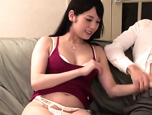 Asian,Babe,Hardcore,Japanese Slut bounds on fat knob of hawt pal...