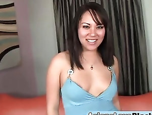 Asian,Asian Asian Tina Lee bouncing on long black...
