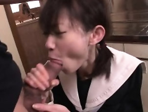 Asian,Blowjob,Close-up,College,Cumshot,Facial,Fingering,Teen Young Japanese babe loves semen in...