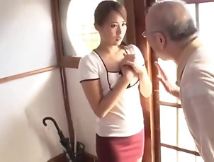 Asian,Oldie,Japanese,Wife Beautiful wife serve father in law