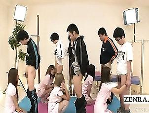 Blowjob,Group Sex,Japanese,Uniform Subtitled CFNM Japanese nurses...