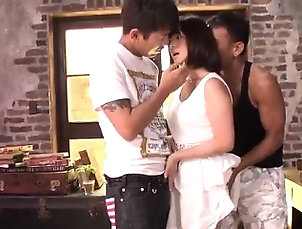 Asian,Blowjob,Creampie,Hardcore,Japanese,Threesome Wakaba Onoue goes down on two tasty...