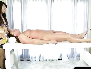Asian,massage, fantasy, asian, blowjob, stockings, handjob Oriental masseuse fucked by her...